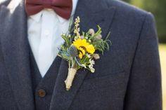Thistle Yellow Flower Groom Buttonhole Homespun Apple Farm Wedding Massachusetts http://brookeellen.com/