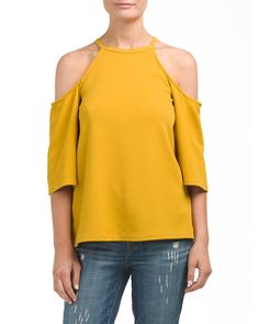 main image of Made In USA High Neck Cold Shoulder Top