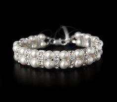 Bridal Pearl Bracelet Cuff Two Strand Wedding Jewelry Swarovski Pearl Cubic Zirconia Vintage