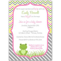 54 best girl baby shower invitations images on pinterest in 2018 invite guests to your girl baby shower with this cute and classic invitation featuring a baby frog and pink green and yellow stripes filmwisefo