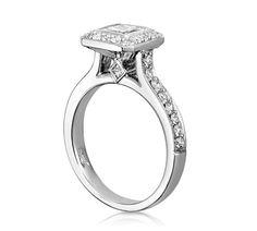 Princess Cut Engagement Ring Bezel Set & Pave Halo