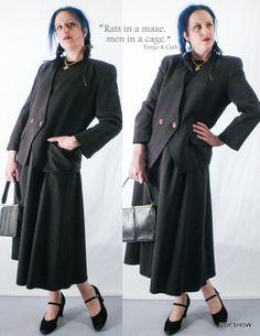 VTG 80's Dark Plaid Tweed Anne Klein Womens Wool Suit Set Designer Alfred Sung by sideshowsam, $99.00