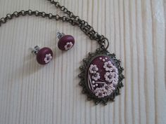 Floral Pendant and Studs by FernandaMcCormack on Etsy