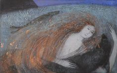 'Seal song'  (mixed media on paper) by Catherine Hyde