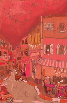 Coral - War - by Doron Sohari Claude Monet, Illustrations, Illustration Art, Vincent Van Gogh, Coral Color, Rojo Color, Coral Art, Colour Colour, Pink Art