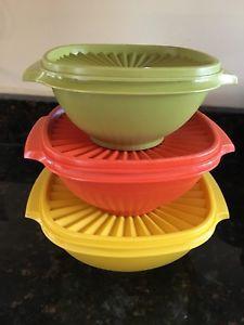 Vintage Tupperware 3 Servalier Bowls + Seals Green, Orange, Yellow 4,6,8 Cups  | eBay