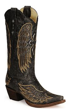 Cowgirl Boots | Corral Boots | Fancy Cowgirl Boots With Black And Gold Wing Inlay