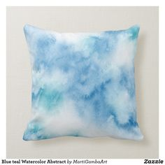 Shop Blue teal Watercolor Abstract Throw Pillow created by MartiGambaArt. Baby Blue Bedrooms, Blue Teen Girl Bedroom, Blue Teen Rooms, Girl Bedrooms, Blue Room Decor, Teen Room Decor, Light Blue Throw Pillows, Blue Pillows, Light Blue Rooms