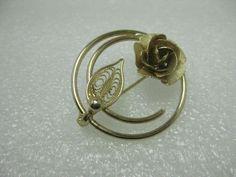 "Vintage Gold Tone Filigree Rose Circle Brooch, 1.25"" - looks new #Unbranded"