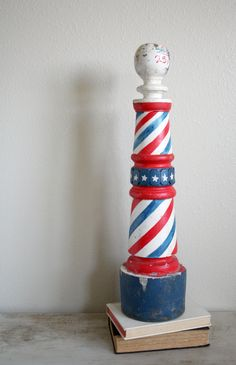 vintage wood barber shop pole