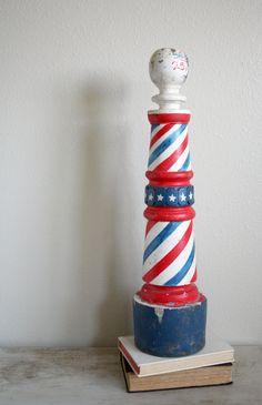 vintage wood barber shop pole