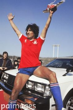 Nacional's winning goalscorer Waldemar Victorino celebrates with his man of the match prize, a Toyota Celica - Soccer - Toyota Cup - World Club Championship - Nacional v Nottingham Forest - 11th February 1981