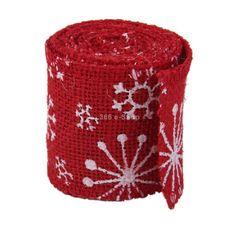 3,3+0 2m Nastro Iuta Juta Fiocco Rosso Con Fiocco Di Neve Decorazioni Feste 2M x 6cm