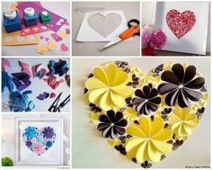 Gorgeous Paper Flower Heart Wall Art for Valentine decoration !   #diy #crafts #Valentine
