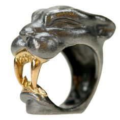 Michael Kanners Gold and Oxidized Silver Panther Ring  Italy  Contemporary