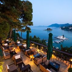 Cafe with wonderful view at Canon of Corfu, Greece