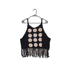 """Forever 21 Fringe Festival Tank Top This super cute tank is the perfect breezy later to put over a bandeau for your summer days ahead! Black with multiple muted daisy graphic. 40"""" bust, 12.5"""" long (18"""" long with fringe). Forever 21 Tops Tank Tops"""