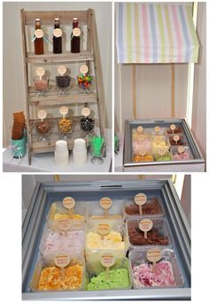 Love- ice cream in a clear container. Love cups w/ the toppings. This a great way to serve ice cream for a party.