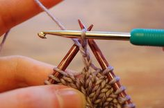 how to crochet a bobble (rather than knitting it ) by chain 2, 4 dc, remove hook & go thru top two loops of 1st st (not the ch) & back thru loop from dc, pull yarn thru these 3 sts & ch one, placing loop on right needle and cont knitting