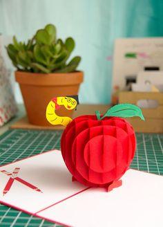Teacher's Apple Pop Up Card Teacher Apple Card от LovePopCards