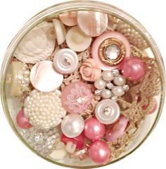 Vintage pink and cream buttons