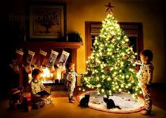Christmas-Children at tree