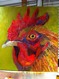Collage rooster by Elizabeth St. Hilaire Nelson - amazing texture and colors - Shows a step by step.