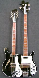 Ric Double Neck Bass/12-String In the 1970's, Mike Rutherford (Genesis) played one of the coolest instruments. Double necked guitar/bass. The top half was a Rickenbacker 12-string electric guitar and the bottom half was a Ric 4003 bass.