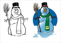 I DON'T LIKE TO COPY COLORS WHEN I AM COLORING IN - I PREFER TO USE COLORS I LIKE AND MAKE MY IMAGINATION COME ALIVE - HOWEVER SOME PEOPLE LIKE TO COLOR BY NUMBERS OR PREFER TO HAVE A TEMPLATE TO COPY. IF YOU'RE ONE OF THESE PEOPLE, THEN YOU MIGHT ENJOY COLORING IN THIS PICTURE OF A SNOW MAN THAT HAS A GUIDE RIGHT ALONGSIDE.