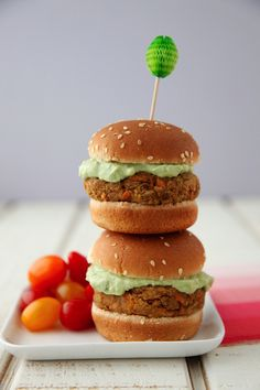 Lentil Chickpea Burgers from Feast on Weelicious.com