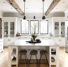 triple window and cabinet styling