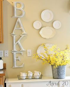 DIY letters and plates for kitchen.
