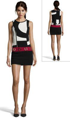 Kleid Kreismuster schwarz, cremefarben