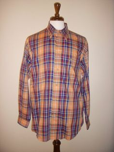 FACCONABLE 100% Cotton Plaid Buttondown Long Sleeve Shirt, Size LARGE #Facconable