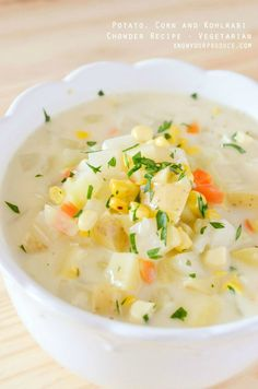 Potato, Corn and Kohlrabi  Chowder Recipe www.knowyourproduce.com