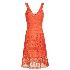 Diane von Furstenberg Tiana Lace Tank Dress ($598) ❤ liked on Polyvore featuring dresses, midi, orange, tank dress, red tank dress, sheer lace dress, lace dress and orange cocktail dress