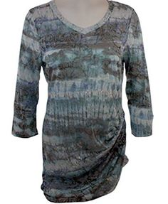 Cubism Water Color Dye Top Straight Edge Ruffle Print with Burn Outs On High