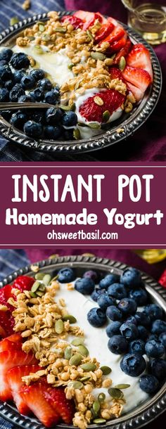Once you try the instant pot, you will use it over and over again! This Easy Instant Pot Homemade Yogurt is ready in just minutes! Top it with your favorite fruit or granola and you have a delicious breakfast snack. Instant Pot Pressure Cooker, Pressure Cooker Recipes, Pressure Cooking, Healthy Protein Snacks, Healthy Recipes, Whey Recipes, Recipies, Healthy Desserts, Healthy Meals
