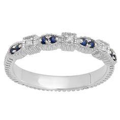 Elora 14k Gold 1/6ct TGW Round Blue Sapphire and Diamond Accent Vintage Wedding Band (I-J, I2-I3) (Size 8, White Gold), Women's