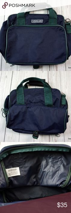 "Vintage Lands End Bag 14 x 12 x 5.5"" Nylon Leather Vintage Lands End Bag, 14 x 12 x 5.5"", Vintage Bag, Luggage, Large Bag, Large Nylon Bag with Leather Strap, Quality Made, Navy Blue & Green  Brand: Lands End Material: Nylon  Detailed Measurements:   14 x 12 x 5.5"" Lands' End Bags Messenger Bags"