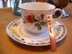 Vintage Teacup with Hand Stamped Copper Garden by 3KidsInACabin, $20.00