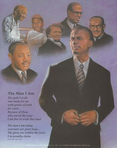 """""""The Man I Am"""" contains images of George Washington Carver, Dr. Martin Luther King Jr., Thurgood Marshall, Malcolm X and Frederick Douglass. It also features a poem by Patricia J. Hacker-Harber."""