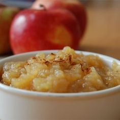 Sarah's Applesauce Allrecipes.com What to do with all the apples that come home in kids lunches uneaten but bruised.