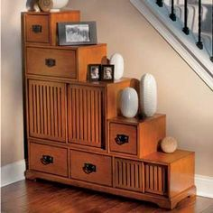 Great Idea For An Awkward Staircase Wall. Reversible Tansu Step Chest.