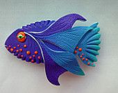 Blue Lagoon Fish 3D Barrette in Turquoise, Purple and Orange Polymer Clay