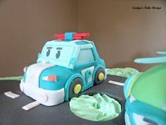 Robocar Poli on the birthday cake