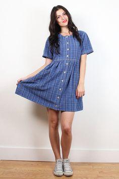 Vintage 90s Dress Blue Chambray Denim Plaid Mini Babydoll Dress 1990s Dress Soft Grunge Dress Hipster Tshirt Dress Jean Jumper M Medium L #90s #1990s #soft #grunge #mini #babydoll #plaid #denim #dress #etsy #vintage