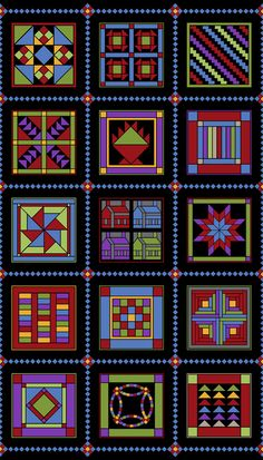 Almost Amish Fabric Panel, Black Quilt Panels by SewWhatQuiltShop on Etsy Amische Quilts, Sampler Quilts, Panel Quilts, Barn Quilts, Quilt Blocks, Amish Quilt Patterns, Amish Culture, Fabric Shack, Fat Quarter Quilt