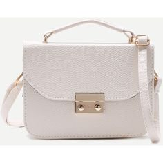 SheIn(sheinside) White Pebbled PU Box Handbag With Strap (84 DKK) ❤ liked on Polyvore featuring bags, handbags, shoulder bags, white purse, shoulder handbags, man bag, handbag satchel and purse shoulder bag