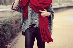 big knit scarf and sweater